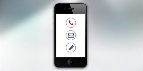電話とメールのアイコンが表示されているスマートフォンの画面